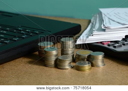 Currency And Receipts For Financial Concept