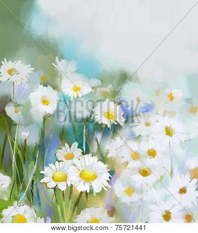 Daisy flowers.Abstract flower painting.