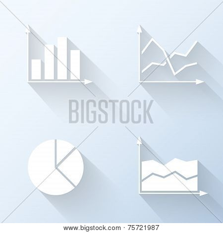 Flat Graph Icons. Vector Illustration