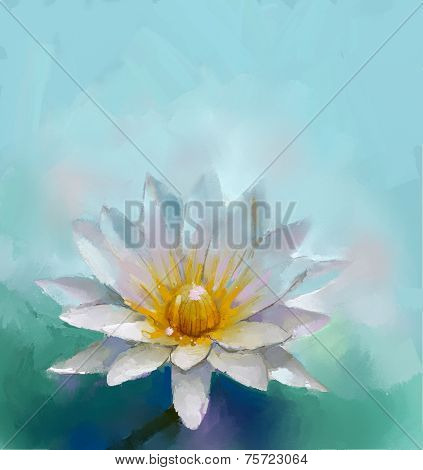 Oil painting of beautiful water lily. Impressionism stye
