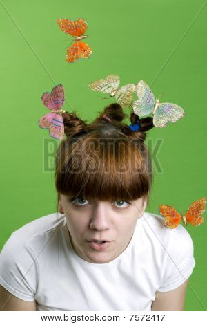 Young Girl  With Flying Butterflies