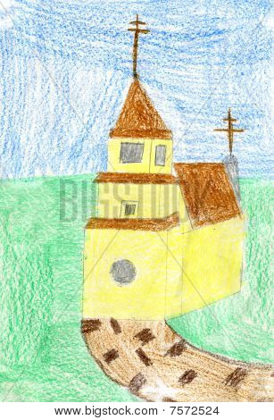 Child's Drawing Of Yellow Church.