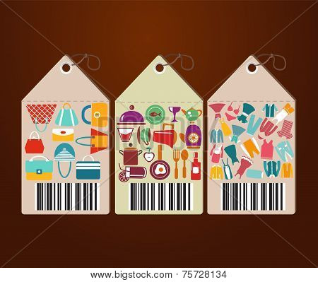 Shopping Icons And Universal Tags Set Icons Shape Label