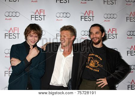 LOS ANGELES - NOV 8:  Caleb Landry Jones, Sebastian Bear-McClard, Joshua Safdie at the AFI FEST 2014 Photocall at the TCL Chinese 6 Theaters on November 8, 2014 in Los Angeles, CA