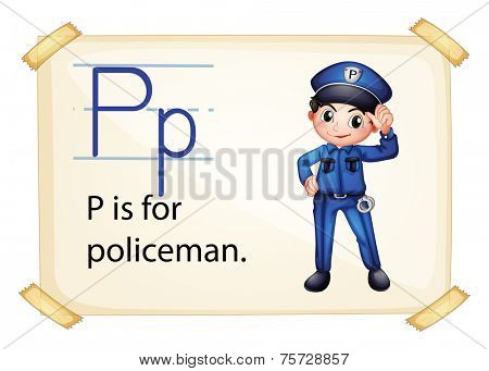 A letter P for policeman on a white background