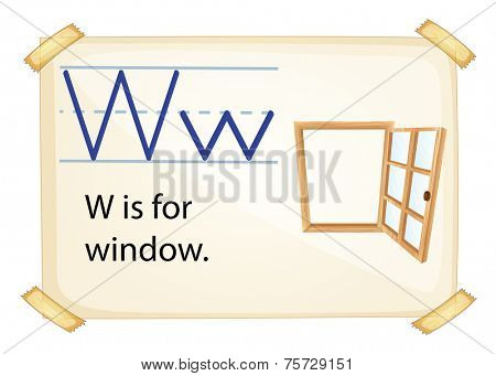 A letter W for window on a white background