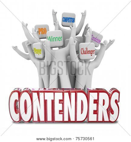 Contenders red 3d words and people cheering behind it marked player, pro, winner, candidate, competitor and challenger
