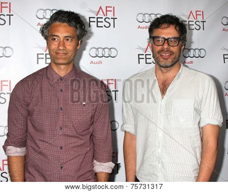 LOS ANGELES - NOV 8:  Taika Waititi, Jemaine Clement at the AFI FEST 2014 Photocall at the TCL Chinese 6 Theaters on November 8, 2014 in Los Angeles, CA