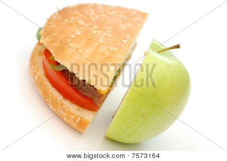 Hamburger And Apple