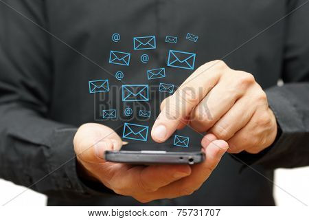 Businessman Using Smart Phone With Email Icons Around