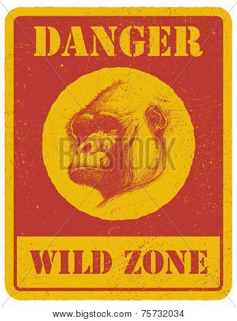 warning sign. danger signal with gorilla eye. eps8