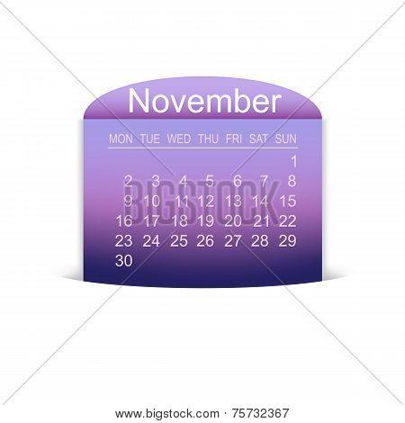 Calendar November 2015. Vector.