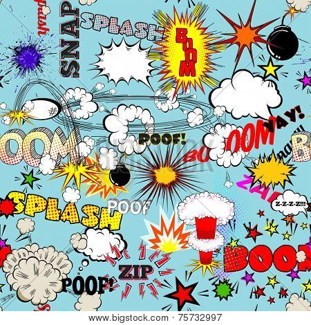 Vector Retro Seamless Pattern with Comics Speech Bubbles, Labels, Clouds, Logos and Comic Book Words