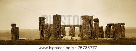 Stonehenge panorama with cloud near London as the National Heritage site of UK.