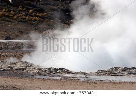 Geyser Eruption, El Tatio Geyser Field, Chile