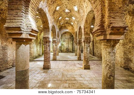 RONDA, SPAIN - NOVEMBER 5, 2014: The Arab Public Baths dating from the 11th-12th Centuries. They are considered some of the best preserved baths of their kind on the Iberian Peninsula.