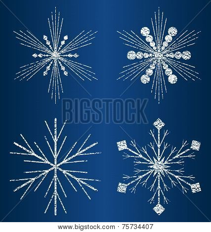 vector textured snowflakes 5