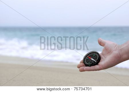 Male Hand With Compass