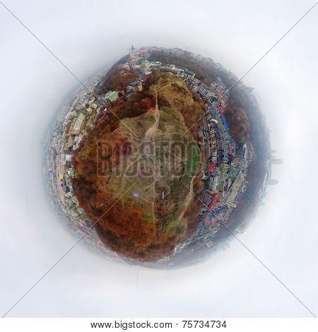 aerial spherical panorama of Kiev Podol