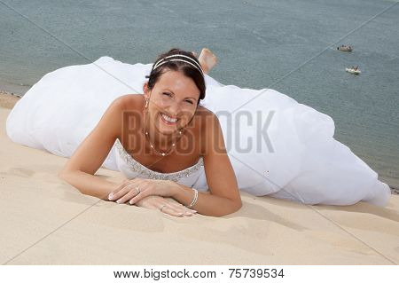 a sensual and happy bride