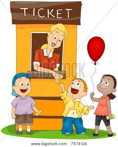 Children At The Ticket Booth