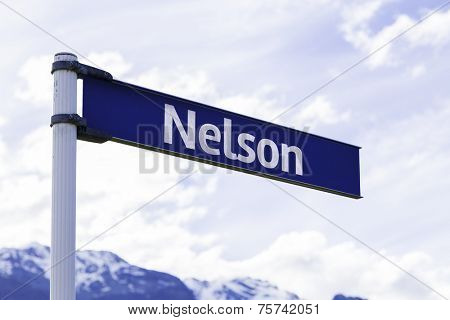 Nelson sign in New Zealand