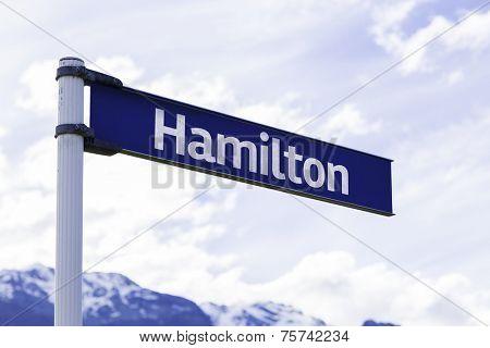 Hamilton sign in New Zealand
