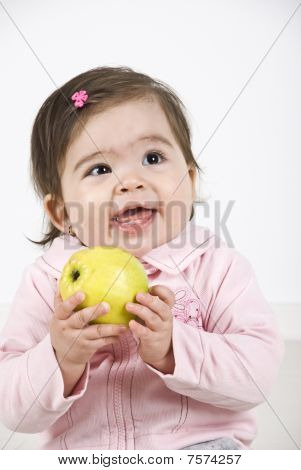 Happy Laughing Baby With Apple