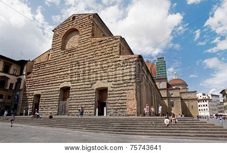 Florence, Italy - August 15, 2014: Tourists Visiting Church Of S
