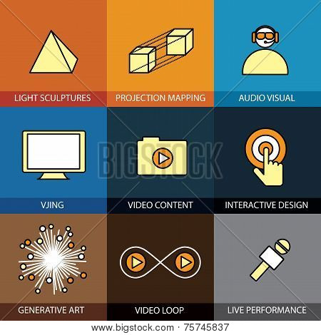 Flat Design Set Of Vector Line Icons Of Virtual Reality Live Performance
