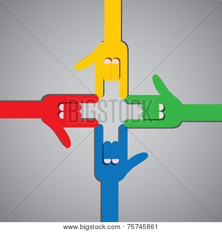 I Love You Flat Design Hand Icon With Four People Gesturing