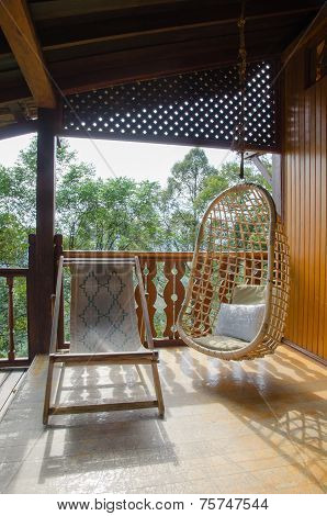 Rattan Chair In A Wooden Tropical Resort