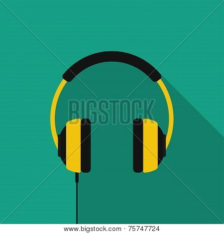 Flat headphones with long shadow. Vector icon