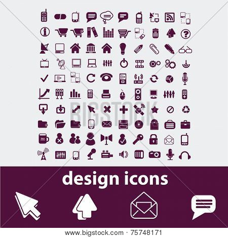 web design isolated icons, signs, illustrations, vectors set on white background