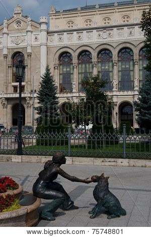 Statue In Front Of Vigado Concert Hall In Budapest