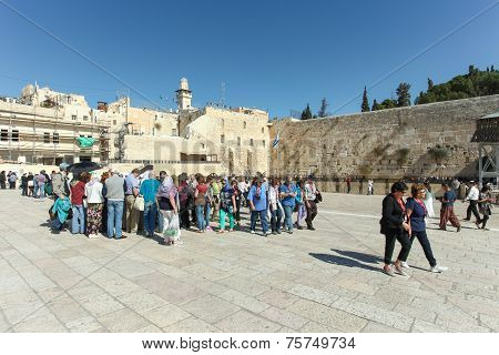 Tourists at the Wailing wall, Jerusalem