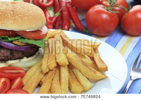 Burger with french fries.