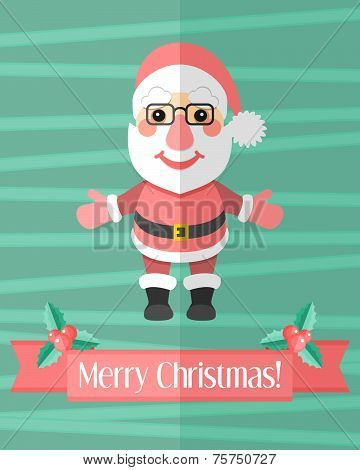 Christmas Card With Santa Claus Over Green