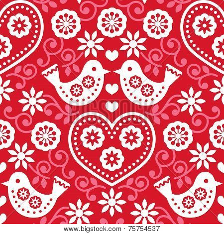 Folk art red seamless pattern with flowers and birds