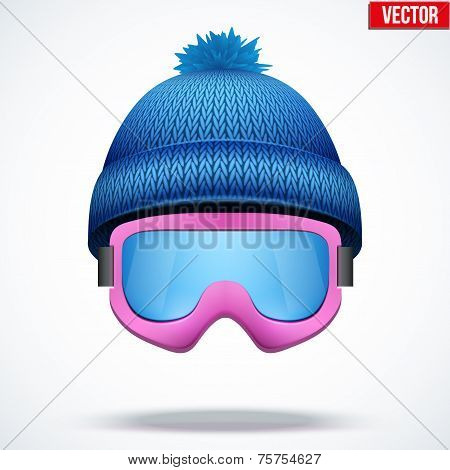 Knitted woolen blue cap with snow goggles. Winter seasonal sport hat. vector illustration
