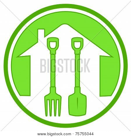 Green Icon With Gardening Tools