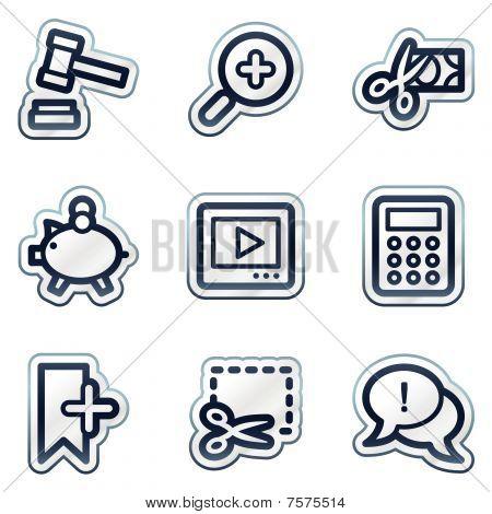 Shopping web icons set 3, deep blue contour sticker series