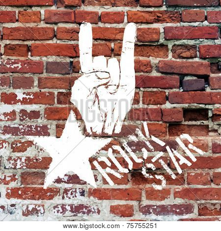 Rockstar symbol with sign of the horns gesture. Vector template with brick wall texture.