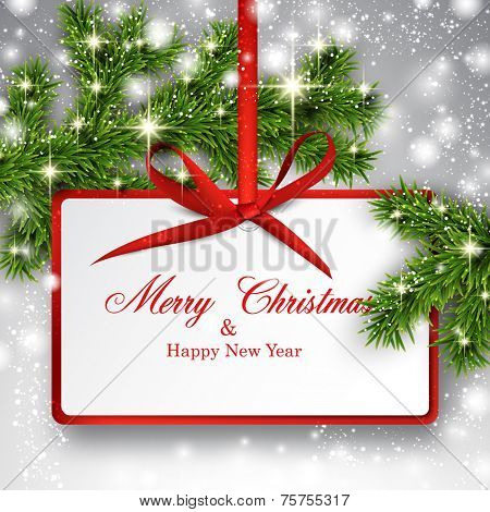 Christmas paper card. Winter background with spruce twigs. Vector illustration.