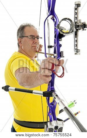 Man Aiming With A Longbow In Closeup