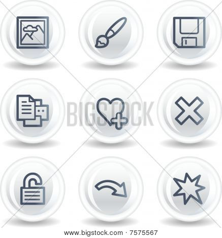 Image viewer web icons set 2, white glossy circle buttons