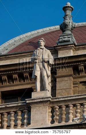 Statue On The Roof Of Opera House In Budapest