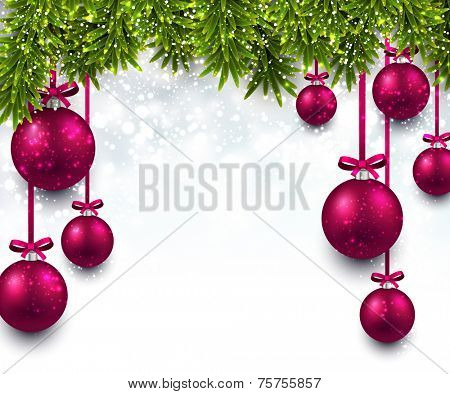 Christmas illustration with fir twigs and magenta balls. Vector background.