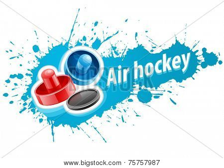 Mallets and puck for playing air hockey game over paint splash with blot drops. Eps10 vector illustration. Isolated on white background