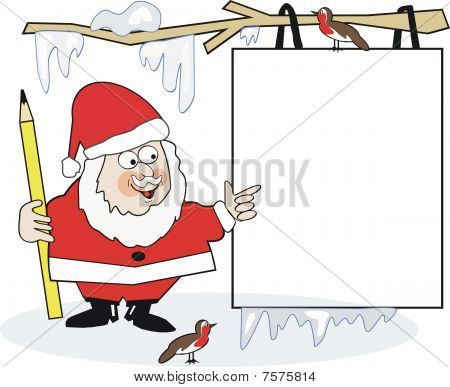 Santa sign cartoon